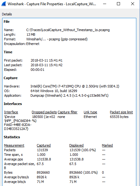 Capture Summary: Local Capture without hardware timestamping